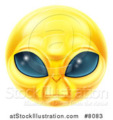 Vector Illustration of a 3d Yellow Extraterrestrial Alien Smiley Emoji Emoticon Face by AtStockIllustration