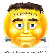 Vector Illustration of a 3d Yellow Frankenstein Smiley Emoji Emoticon Face by AtStockIllustration