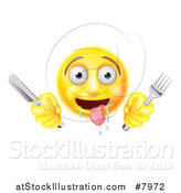Vector Illustration of a 3d Yellow Hungry Male Smiley Emoji Emoticon Holding a Knife and Fork by AtStockIllustration