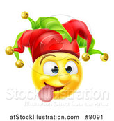 Vector Illustration of a 3d Yellow Male Smiley Emoji Emoticon Face Court Jester Making a Funny Face by AtStockIllustration