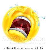 Vector Illustration of a 3d Yellow Male Smiley Emoji Emoticon Face Crying by AtStockIllustration