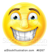 Vector Illustration of a 3d Yellow Male Smiley Emoji Emoticon Face Grinning with Shiny Teeth by AtStockIllustration