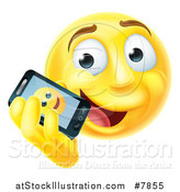 Vector Illustration of a 3d Yellow Male Smiley Emoji Emoticon Face Talking on a Smart Phone by AtStockIllustration