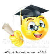 Vector Illustration of a 3d Yellow Male Smiley Emoji Emoticon Graduate Holding a Diploma by AtStockIllustration