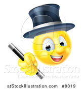 Vector Illustration of a 3d Yellow Male Smiley Emoji Emoticon Magician Holding a Wand by AtStockIllustration