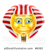 Vector Illustration of a 3d Yellow Smiley Egyptian Pharaoh Emoji Emoticon Face by AtStockIllustration
