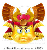 Vector Illustration of a 3d Yellow Smiley Emoji Emoticon Face in a Samurai Warrior Helmet by AtStockIllustration