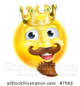 Vector Illustration of a 3d Yellow Smiley Emoji Emoticon Face King Wearing a Crown by AtStockIllustration
