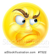 Vector Illustration of a 3d Yellow Smiley Emoji Emoticon Face Looking Skeptical by AtStockIllustration