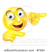 Vector Illustration of a 3d Yellow Smiley Emoji Emoticon Face Pointing to the Right by AtStockIllustration