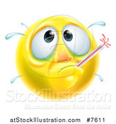 Vector Illustration of a 3d Yellow Smiley Emoji Emoticon Face Sick with a Fever and Thermometer by AtStockIllustration