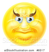 Vector Illustration of a 3d Yellow Smiley Emoji Emoticon Face with an Angry Expression by AtStockIllustration