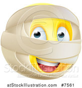 Vector Illustration of a 3d Yellow Smiley Emoji Emoticon Face with Mummy Wrappings by AtStockIllustration