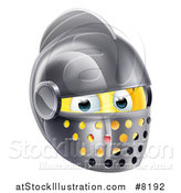 Vector Illustration of a 3d Yellow Smiley Emoji Emoticon Knight Face in a Helmet by AtStockIllustration
