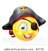 Vector Illustration of a 3d Yellow Smiley Emoji Emoticon Pirate Captain with an Eye Patch by AtStockIllustration
