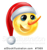 Vector Illustration of a 3d Yellow Snowman Smiley Emoji Emoticon Wearing a Christmas Santa Hat by AtStockIllustration