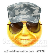 Vector Illustration of a 3d Yellow Soldier Smiley Emoji Emoticon Face Wearing Sunglasses and a Camo Hat by AtStockIllustration