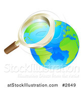 Vector Illustration of a 3d Zoom Magnifying Glass over Earth by AtStockIllustration