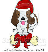 Vector Illustration of a Adorable Brown and White Puppy Dog Wearing a Santa Hat and Wagging Its Tail While Eying a Bone with a Red Bow on It by AtStockIllustration