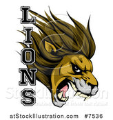 Vector Illustration of a Aggressive Male Lion Roaring Mascot Head and Text by AtStockIllustration