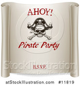 Vector Illustration of a Ahoy Pirate Party Scroll Design by AtStockIllustration