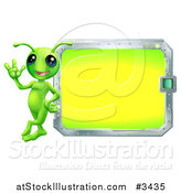 Vector Illustration of a Alien with Sign or Screen by AtStockIllustration