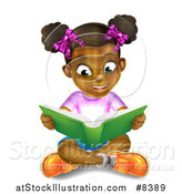 Vector Illustration of a Amazed Black Girl Sitting on the Floor and Reading a Book with Light Glowing from the Pages by AtStockIllustration
