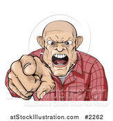 Vector Illustration of a Angry Skinhead Man Yelling and Pointing by AtStockIllustration