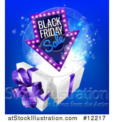 Vector Illustration of a Arrow Shaped Marquee Black Friday Sale Sign over a Christmas Gift Box by AtStockIllustration