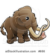 Vector Illustration of a Baby Brown Woolly Mammoth, Also Known As the Tundra Mammoth (Mammuthus Primigenius) with Long Tusks by AtStockIllustration