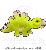 Vector Illustration of a Baby Green Stegosaur Dinosaur in Profile by AtStockIllustration