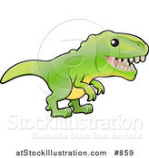 Vector Illustration of a Baby Green T-Rex Dinosaur with Dull Teeth by AtStockIllustration