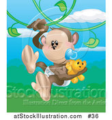 Vector Illustration of a Baby Monkey in a Diaper, Sucking a Pacifier While Carrying a Teddy Bear and Swinging on Vines in a Forest by AtStockIllustration