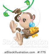 Vector Illustration of a Baby Monkey with a Pacifier and Teddy Bear, Swinging on a Vine by AtStockIllustration