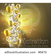 Vector Illustration of a Background of 3d Gold Party Balloons and Gifts by AtStockIllustration