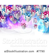 Vector Illustration of a Background of Birthday or Christmas Gift Boxes over a Purple and Blue Background with Text Space by AtStockIllustration