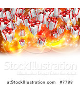 Vector Illustration of a Background of Birthday or Christmas Gift Boxes over Bright Lights with White Text Space by AtStockIllustration
