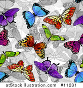 Vector Illustration of a Background of Colorful Butterflies over Grayscale by AtStockIllustration