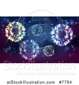 Vector Illustration of a Background of Fireworks Bursting in the Sky by AtStockIllustration