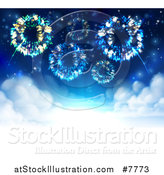 Vector Illustration of a Background of Fireworks Bursting in the Sky over Whtie Clouds with Text Space by AtStockIllustration