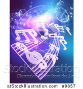 Vector Illustration of a Background of Floating Sheet Music over Blue with Magical Lights by AtStockIllustration