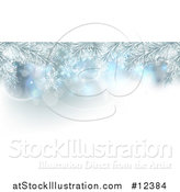 Vector Illustration of a Background of Frosted Christmas Tree Branches and Snowflakes by AtStockIllustration