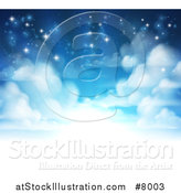 Vector Illustration of a Background of Heavenly Sky with Shining Light and Clouds by AtStockIllustration
