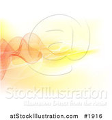 Vector Illustration of a Background of Mesh Lines and Waves in Orange and Yellow Hues by AtStockIllustration