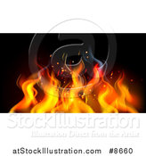 Vector Illustration of a Background of Orange Flames on Black by AtStockIllustration