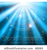 Vector Illustration of a Background of Orbs Sparkles and Blue Light Shining down by AtStockIllustration