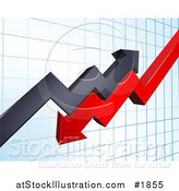 Vector Illustration of a Background of Profit and Loss Arrows on a Blue Graph by AtStockIllustration