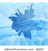 Vector Illustration of a Background of Shattered Blue Glass with Shards by AtStockIllustration