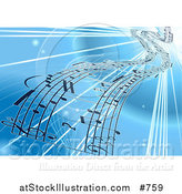 Vector Illustration of a Background of Sheet Music over Blue by AtStockIllustration