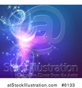 Vector Illustration of a Background of Vortex Glowing Swirl Lights on Blue by AtStockIllustration